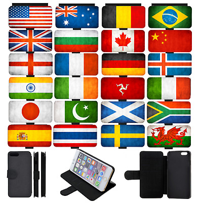 WORLD FLAGS Grunge Wallet Flip Phone Case Cover Galaxy S5 S6 S7 S8 S9 comp