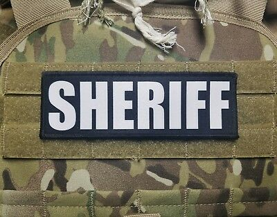 2x6 SHERIFF Black White Chest Rig Plate Carrier Body Armor Morale Patch Hook