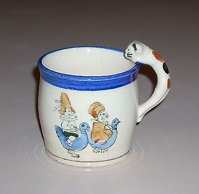 Vintage Mug Cup Children Riding Blue Birds Chickens with Calico Cat Handle