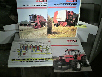 4 Documents Case 1992 : Tracteur Agricole, Baler, Moissonneuse.