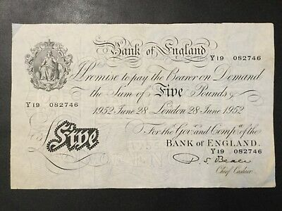 1956 Great Britain Paper Money - 5 Pounds Banknote !