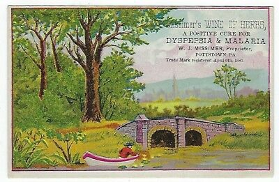 Missimer's Wine Of Herbs 1887 medicine trade card #A - Pottstown, PA