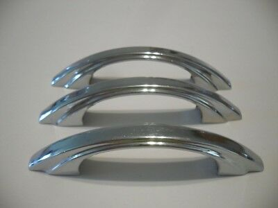 3 Vintage CHROME Plated Steel Drawer Pulls Stair Stepped Sides Cabinet Handles