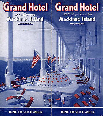 Grand Hotel Mackinac Island Michigan Vintage 1940's Travel Brochure Photos Map
