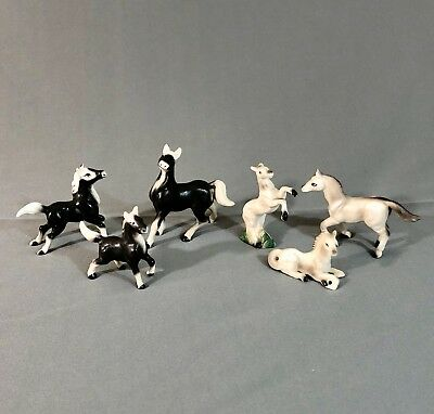 Miniature Bone China Porcelain Horse Lot of 6 Probably Japan Gray Black