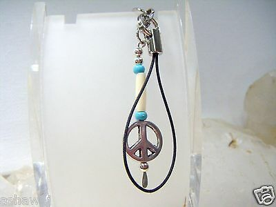 Native American White Hairpipe, Turquoise with Peace Sign Cell Phone Charm
