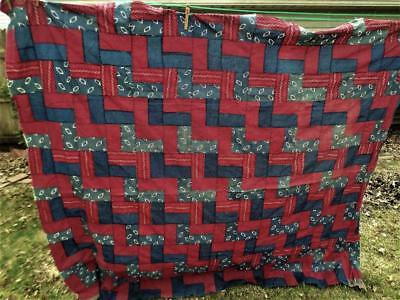 Antique 1800's Turkey Red & Indigo Blue Quilt Top Printed Cotton Calico  76 X 66