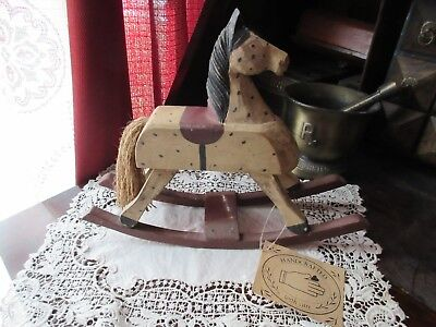 Midwest Primitive Art Carved Wooden Rocking Horse Vintage Style Hand Crafted