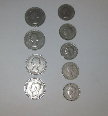 GREAT BRITAIN UK COIN LOT,  Lot of 9 coins Shillings 1948 - 1965