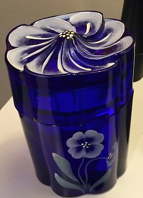 Fenton Hand Painted 95th Anniversary Cobalt Blue Candy Jar Flower Petal Lid Tags