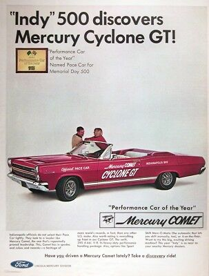 1966 MERCURY COMET CYCLONE GT CONVERTIBLE Vintage Advertisement~ INDY Pace Car