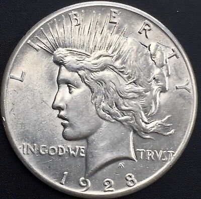 1928 - P Peace Silver Dollar Rare Au++ Details Key Date Coin Only 360,649 Minted