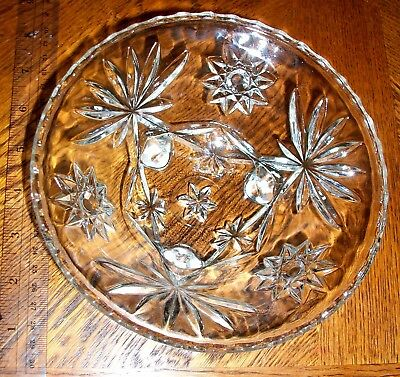 Nice etched glass candy dish or compote