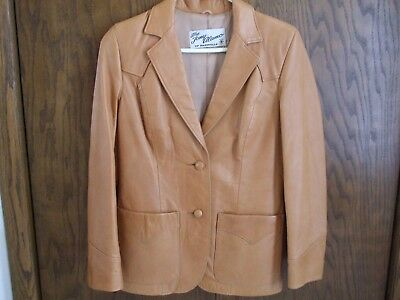 Vintage Tony Alamo of Nashville Brown Ladies Leather Jacket Size S Western Style