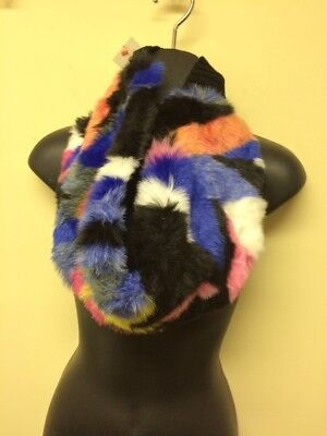 Cat & Jack Multicolor Girls Youth Childs Faux Fur Cowl Scarf Pink Blue Black