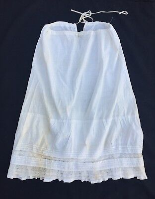 Antique Victorian Cotton Drawstring Half Slip Petticoat with Pintucks and Lace