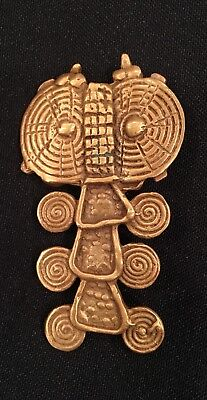 Pre-Colombian~African Art~Gold Plated BELT LINK Pin Vintage Brooch~Jewelry-NEW!!
