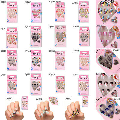 24xDesigned Women Manicure Nail Tips False Fake French Full Nail Art Glitter DIY
