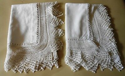 Pair Antique Linen Pillowcases with Wide Crochet Lace Border and Tape Ties C1910