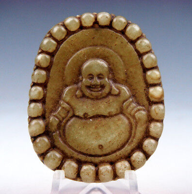 Vintage Nephrite Jade Hand Carved *Big Belly Laughing Buddha* Pendant #02011725