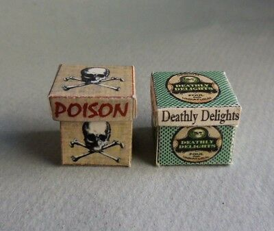 Dollhouse Miniature ~ Halloween ~ Poison And Deathly Delights Boxes