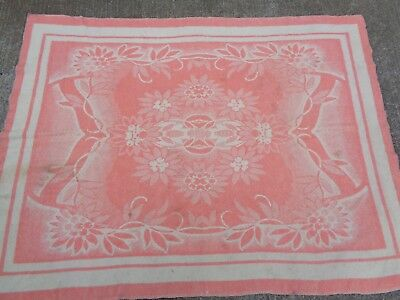 Vtg 1930s Wool Striped Two-Tone American Floral Motif Blanket Antique Pink 1940s