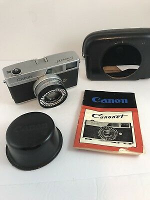 Canon canonet Vintage Camera With Leather Case And Manual, Made In Japan