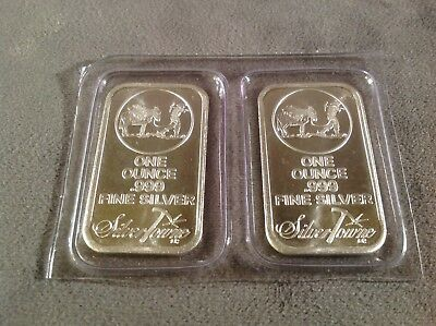 Lot of 2 1oz .999 Silver Sealed Silvertowne Prospector Bars - 2oz Total Silver
