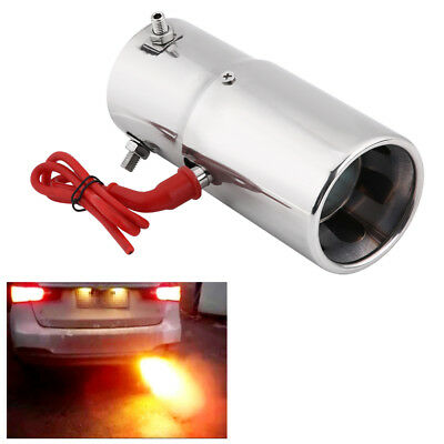 Spitfire Car Stainless Steel LED Tail Exhaust Pipe Red Light Flaming Muffler Tip