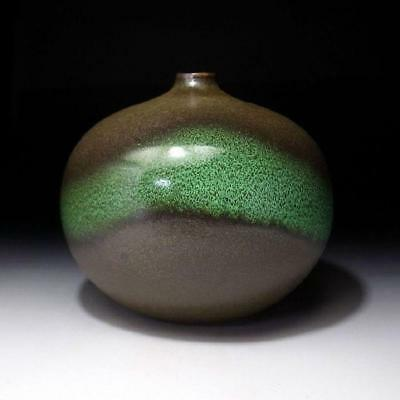VF2: Vintage Japanese Pottery Bud Vase, Kyo ware, Dia. 6.5 inches