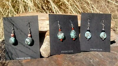 3-Types of Indian Mountain Turquoise, Spiny Oyster Shell, Coral, Onyx Earrings