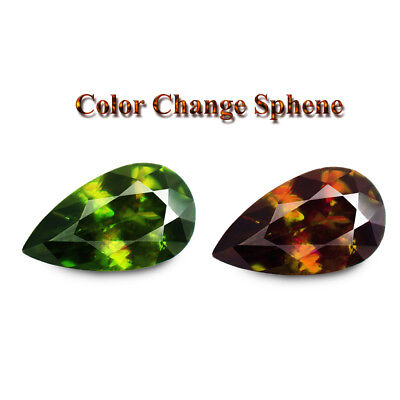 2.38ct 100% Natural earth mined extremely rare multi color flash sphene/titanite
