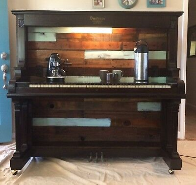 Wired, Glass Top Coffee/Wine Bar - Repurposed Piano - Antique Conversation Piece