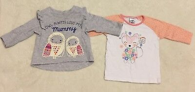 Lot Of 2 Baby Girls Long Sleeve Tops, Size 00, Good Condition!!