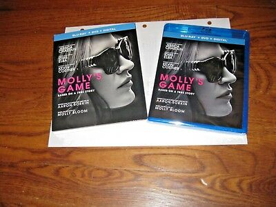 Molly's Game: (Blu-ray+DVD+Digital Copy) 2018] Brand New, Sealed + I Ship Faster