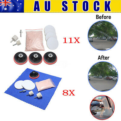 AU 9/11Pcs Glass Scratch Remover Polishing Kit + Cerium Oxide Powder +Wheel +Pad