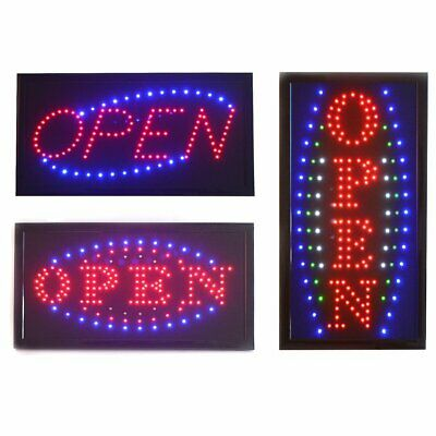 LED Open Sign Board Bright Flashing Cafe Shop Window Hanging Display NEW