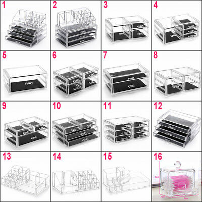 Clear Acrylic Makeup Case Cosmetic Organizer Drawer Holder Jewelry Storage Box