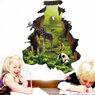 Living Room 3D Decal Vivid Wildlife Wall Sticker Removable Animal Forest Kids