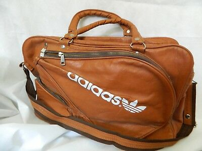 87fd8d860e VINTAGE ADIDAS BROWN Leather Sport Gym Bag with Tennis Racket Holder ...