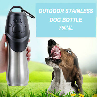 750ml Pet Dog Drinking Water Bottle Travel Water Bowl Puppy Stainless Steel Cup