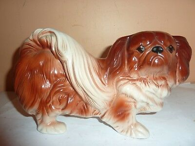 Vintage Melba Ware Pottery 22.7 Cm Long By 13Cm Brown Shades Pekingese Dog Model