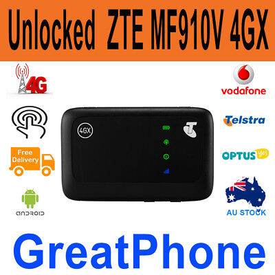 Unlocked Telstra ZTE MF910V 4GX Pocket Wi-Fi Modem + 3GB Data Starter Pack