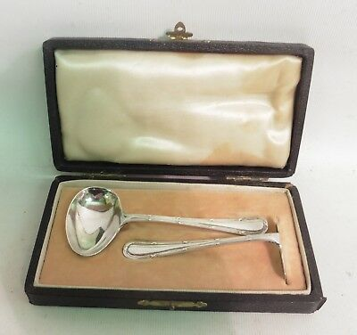 Solid Silver Childs Spoon & Pusher Set, By Wakely & Wheeler, H/m L'don 1942