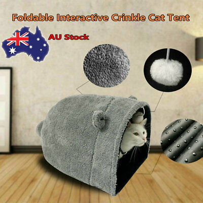 Crinkle Kitty Cat Warm Sleeping House Bed Portable Pet Tunnel Play Toys