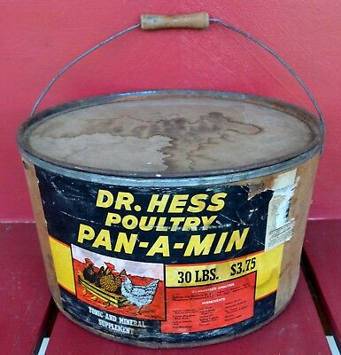 Dr Hess Antique Poultry Bucket Tippecanoe IN Wood Swing Handle Pan-A-Min Auction