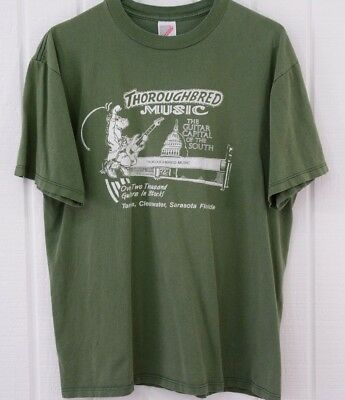 Vintage Thin Original Hipster T Shirt Thoroughbred Music Florida Guitar Jerzees