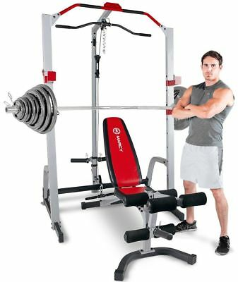 Marcy MD-8851R Deluxe Power Cage Rack Weight Bench & 140kg Olympic Weight Set