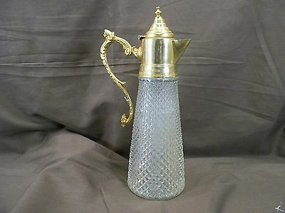 Vintage  Glass Decanter /carafe  Brass Handle And Spout