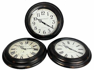 43cm Small Black Iron Antique French Gallery Style Round Wall Hanging Clock